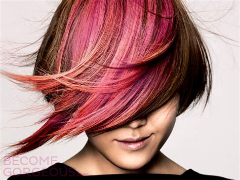 Pink Highlights Brown Hair Color