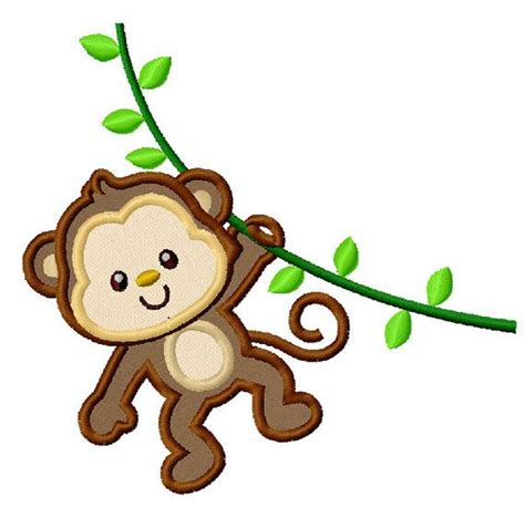 monkey applique monkey on the vine applique machine embroidery design