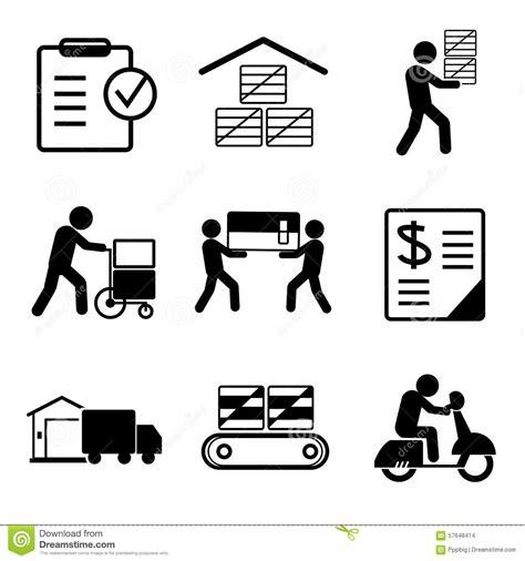 warehouse management icons stock illustration image