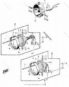 Kawasaki Motorcycle 1970 Oem Parts Diagram For Headlight