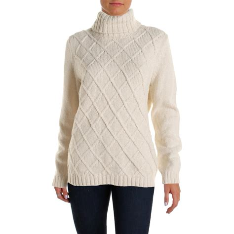 womens sweaters klein 2434 womens cable knit sleeves turtleneck