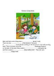 english worksheets picture composition my treasure box