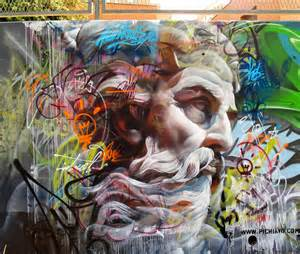 murals of greek gods rendered against a chaotic backdrop