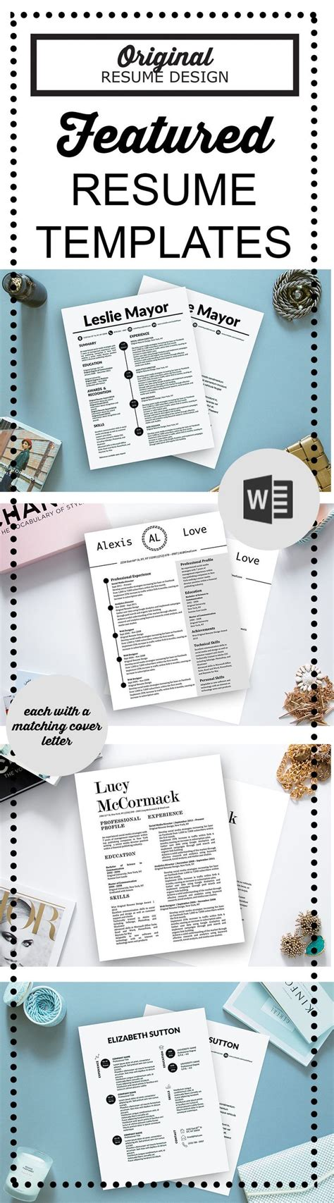 featured resume templates for microsoft word by original