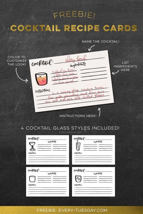 freebie cocktail recipe cards design freebies recipe