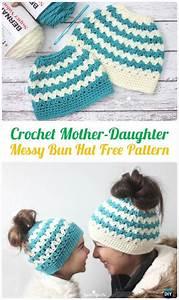 Crochet Ponytail Messy Bun Hat Free Patterns  Instructions
