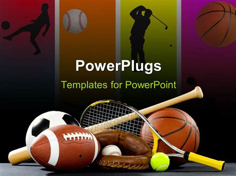 sports templates powerpoint template variety of sports equipment on a black background including an american