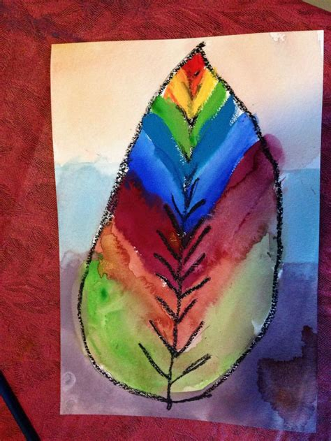 finished leaf painted  gouache oil pastel resist