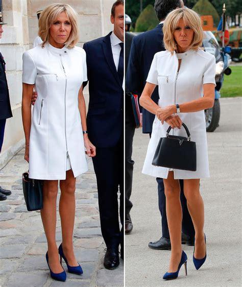 brigitte macron bikini brigitte macron wears zip up white dress to meet donald