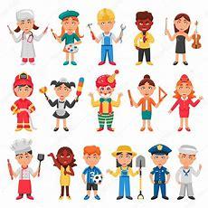Crianças E O Conjunto De ícones De Profissões — Vetores De Stock © Macrovector #116711350