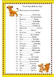 english worksheet present simple   lion king