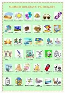 English worksheet: summer holidays pictionary