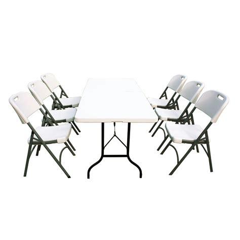 ensemble table et chaises de jardin ensemble table de jardin pliante 183cm et 6 chaises pliantes