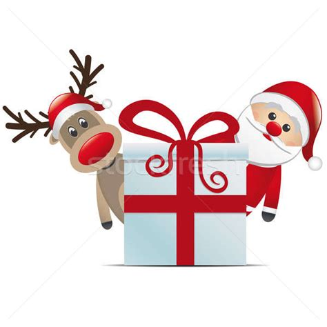 Reideer And Father Christmas Template For Windows by Reindeer Santa Claus Christmas Gift Box Stock Photo