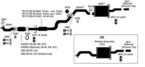 Honda Civic Exhaust Diagram From Best Value Auto Parts
