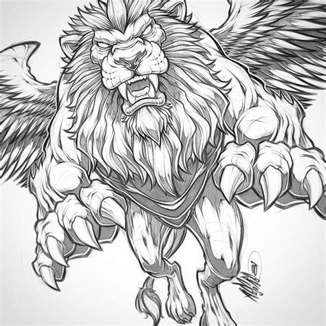 winged lion pencils lion beast wings illustration