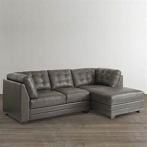 Slate grey leather right chairse sectional for Small sectional sofa bassett