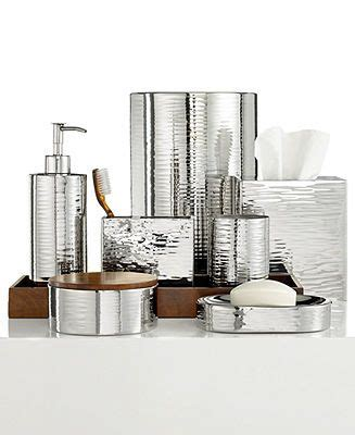 Modern Bath Accessories Collections by Hotel Collection Polished Hammered Metal Bath Accessories