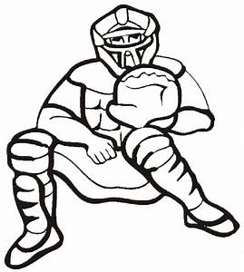 Baseball coloring page: Catcher stands behind the plate ...