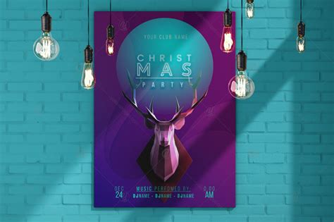 trendy christmas poster layered psd  design elements