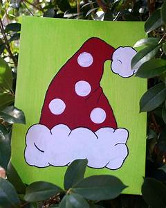 Santa, Hat, Christmas, Canvas, Painting, Ideas