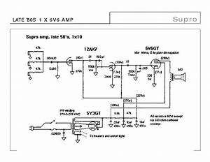 Supro Late 50s 1x6v6 Amp Sch Service Manual Download