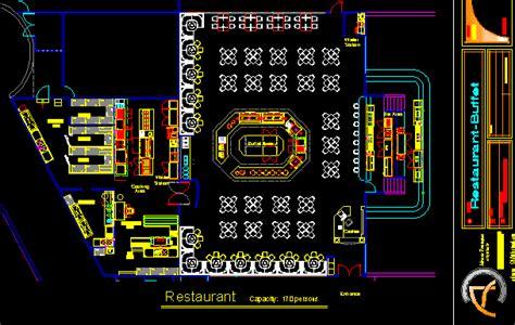 buffet restaurant  floor plans  dwg design plan