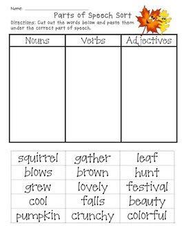 fall parts of speech sort cut and paste by creations tpt