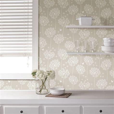 Nuwallpaper Taupe Dandelion Peel And Stick Wallpaper