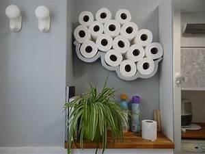 Etagere Papier Toilette : tag re porte papier toilette en forme de nuage cr ation maison en carton menuiserie ~ Teatrodelosmanantiales.com Idées de Décoration