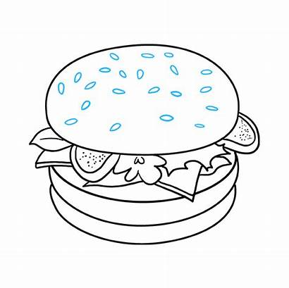 Burger Draw Drawing Easy Bun Sesame Seed
