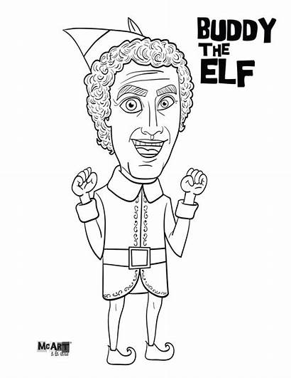 Elf Coloring Buddy Pages Christmas Printable Shelf
