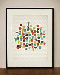 retro kitchen coffee cups 11x14 art print by projecttype With kitchen colors with white cabinets with custom wrapped canvas wall art
