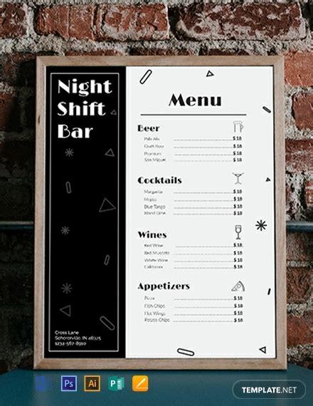 bar menu template word psd indesign apple