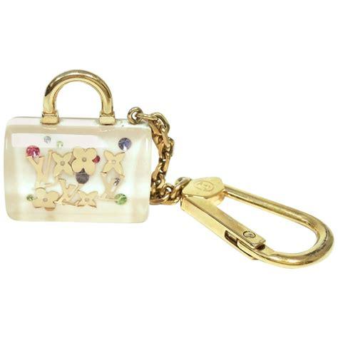 louis vuitton white inclusion speedy key holder  bag charm  stdibs