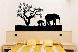 Wandtattoo Auf Rauputz : wandtattoo elefanten mit baum kaufen bei ~ Michelbontemps.com Haus und Dekorationen