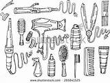 Hair Dryer Curling Tools Iron Shutterstock Straightener Drawing Hairspray Comb Illustration Barber Vector Straighteners Styling Attributes Doodle Accessories Means Clip sketch template