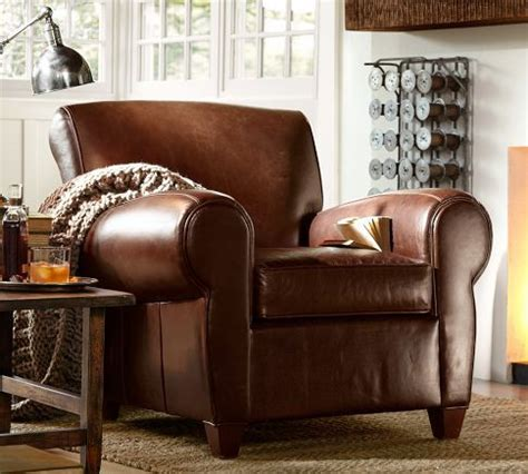 Living Room Chairs Pottery Barn by Manhattan Armchair Ottoman Set Leather Whiskey 1 499