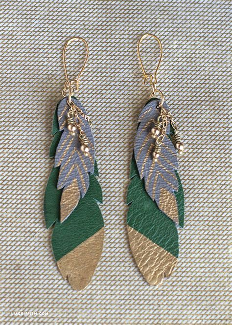 diy leather feather earrings lia griffith