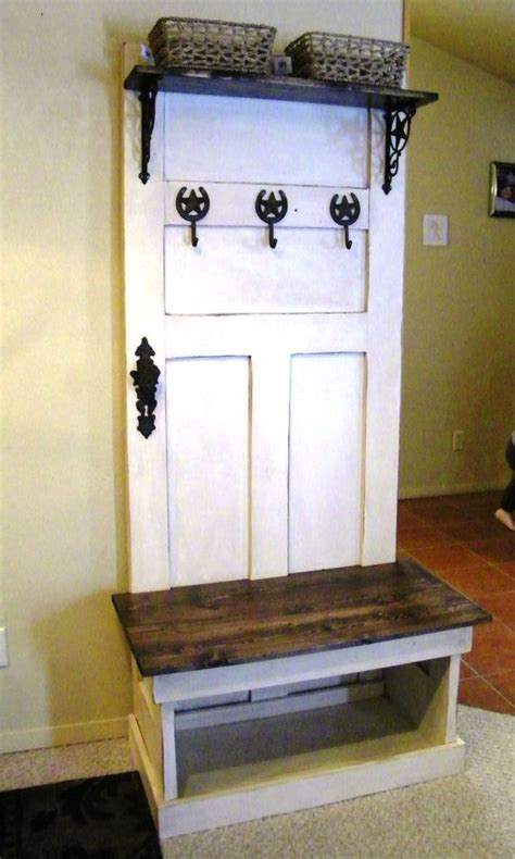 rustic hall tree bench  wwrusticdesign  etsy