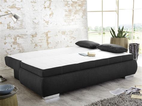 Dauerschläfer Schlafsofa Merlin 210x112cm Dunkel Grau Sofa