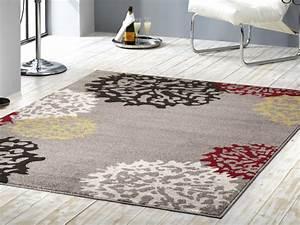 Teppich Gelb Grau : kurzflor velours teppich dandelion grau braun gelb rot creme ~ Indierocktalk.com Haus und Dekorationen
