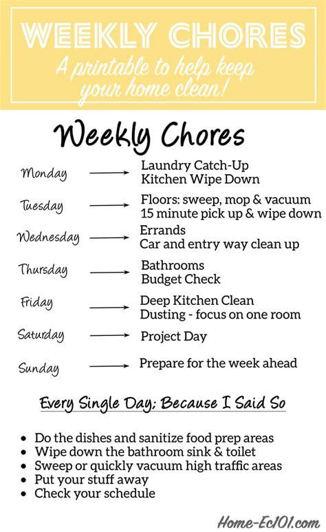 weekly chore schedule home ec