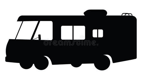 motorhome clipart black and white rv silhouette stock vector illustration of black single