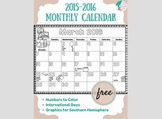 FREE 20152016 Monthly Calendar for Kids Liz's Early