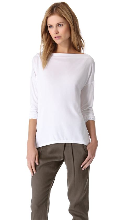 Boat Neck Tops For Sale by Vince Boat Neck Top In White Lyst