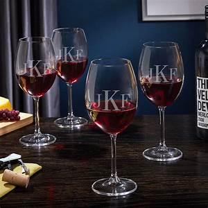 Classic, Monogrammed, Wine, Glasses, Set, Of, 4