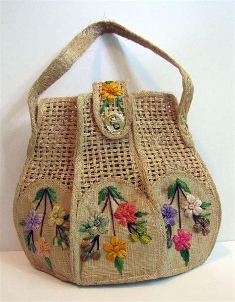 vintage straw purse  bags  whidby  floral raffia
