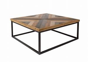 Table Basse Bois Metal Industriel : table basse carr e bois et metal style industriel joy boite design ~ Teatrodelosmanantiales.com Idées de Décoration