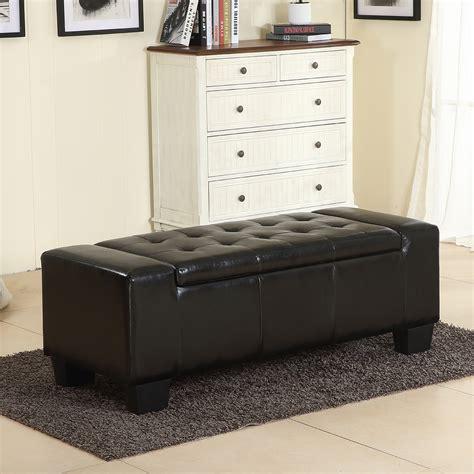 belleze  storage ottoman bench black faux leather large